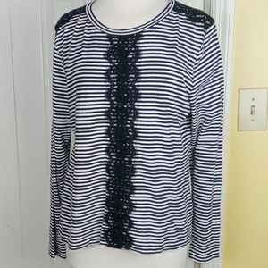 J. Crew black and white striped with lace accents